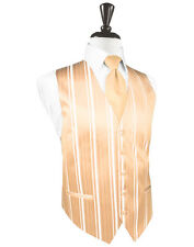 New Mens Apricot Striped Tuxedo Vest Tie Set Formal Wedding Groom Prom All Size