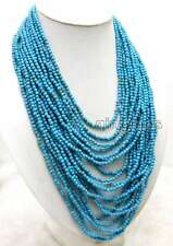 SALE 4mm Round Natural Blue Striped Turquoise 18-27'' 20 strands necklace-ne5973
