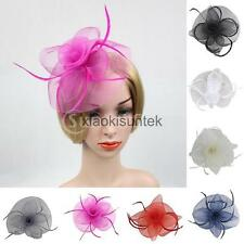 Feather Mesh Fascinator Hat Tea Party Church Hat Wedding Bridal Hair Pin Jewelry