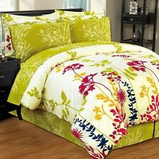 NEW Twin Full Queen King Bed Green Yellow Floral 8 pc Comforter Sheets Set