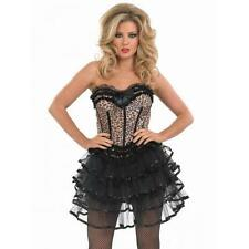 Ladies Burlesque Leopard print Corset and layered Tutu Fancy Dress Costume