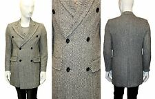 Mens Long Trench Coat Checked Jacket Herringbone Overcoat Double Breasted Winter