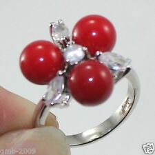 Fashion Women's 8mm Coral Red South Sea Shell Pearl Crystal Ring Size 7/8/9
