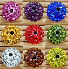 10Pcs Pave Clay Spacer Beads Round Fashion Czech Disco Ball Crystal Rhinestones
