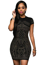 Black White Gold Studded Short Sleeves Dress Short Sleeve Mini Dress