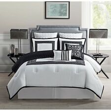 NEW Twin Full Queen King Bed Black White Quilted 9 pc Comforter Set Elegant NWT