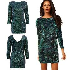 Sexy Women Sequin Bodycon Dress 3/4 Sleeve Party Evening Mini Dress Club H9Z2