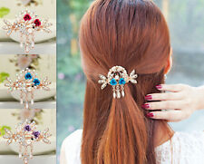 Hair Barrette New Crystal Rhinestone Women Jewelry Hairpin Flower Tops NEW Clip
