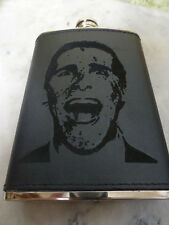 Custom Christian Bale American Psycho Engraved Leather Dyed Steel Flask Gift