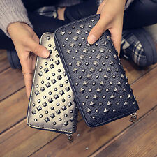 Womens Punk PU Leather Wallet Rivet Stud Clutch Long Card Holder Purse Handbag