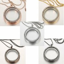 Elegant Living Memory Floating Charm Crystal Glass Round Locket Pendant Necklace