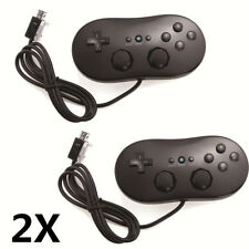2X Pro Classic Controller Game Pad Joypad for Nintendo Wii Remote Gaming Black