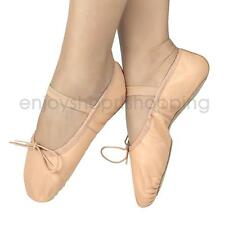 Pink Elegant Pig Leather Elastic Strap Soft Girls Women Ballet Shoes Slippers