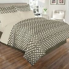 NEW Twin Full Queen King Bed Tan White Geometric 8pc Comforter Sheet Set Elegant