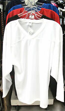 New Powertek ice hockey practice jersey long sleeve large lg white senior sr