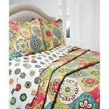 NEW Twin Full Queen King 3 pc Floral Scroll Reversible Quilt Coverlet Bed Set