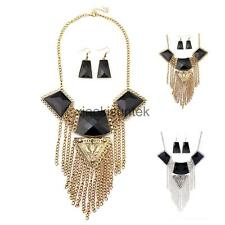 Bohemia Retro Choker Geometric Rhinestone Multi-layer Tassel Folk Necklace