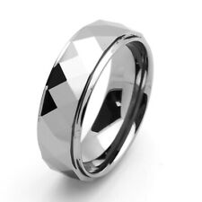 8mm Tungsten Carbide Band Domed Faceted Stepped Edge Ring / Gift box