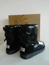 """NEW UGG AUSTRALIA YOUTH """"BAILEY BOW SPARKLE"""" GIRLS' BOOTS BLACK"""