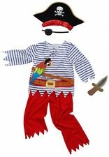 Kids Deckhand Pirate Fancy Dress Costume Blue Stripe with Dagger, Hat & Parrot