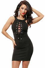 Black White Lace Up Front Halterneck Mini Dress Solid Stage Dance Club Sexy