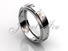 Men's Wedding Band - 14k White Gold Diamond Unique Men's Wedding Band LB-2035-1