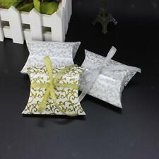 Lot of 50pcs Sweets Candy Pillow Boxes Gift Boxes Wedding Party Favor Ribbon