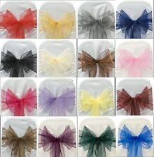 Organza Chair Cover Sash Bow 50/100PCS Wedding Party Reception Banquet Decor