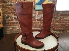 Marc Fisher Med Brown Leather Strap Detail Riding Boots NEW Audrey