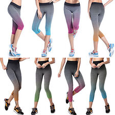 Women Ombre YOGA Workout Gym Sports Pants Leggings Lady Fitness Stretch Trousers