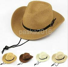 Summer Beach Sun Hat Kids Boys Cowboy Straw Stetson Cap Children Wide Brim Hat