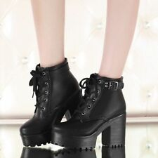 Women chunky heel round toe platform lace-up punk goth creeper ankle boots shoes