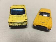 2 Vtg Corgi Diecast Vehicles Yellow Aston Martin & Yellow Ford Transit GUC