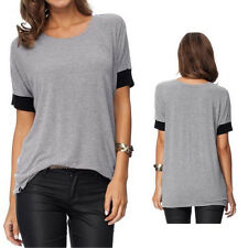Women's Loose Blouse Summer Short Sleeve Charm T Shirt Solid Cotton Casual Tops