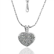 Wedding Engagement 18K Gold Plated Swarovski Crystal Womens Love Heart Necklace