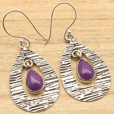 925 Silver Plated PURPLE COPPER TURQUOISE & Other Stones Variation Earrings