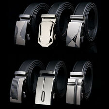 Mens Genuine Leather Belts Alloy Automatic Buckle Belts Black Waist Strap 47""