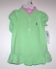 NWTS RALPH LAUREN GINGHAM COLLAR POLO DRESS/PANTY EVERYDAY WEAR SIZE 6 MONTH NEW