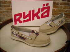 Ryka Orleans Stone Leather & Plaid Slip-on Boat Shoes NEW