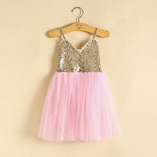 Girls Gold sequin Pink Tulle Party Dress