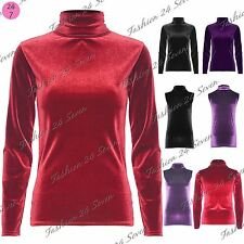 Ladies Stretch Full Sleeve T Shirt Womens Velvet Turtle Polo Neck Sleeveless Top
