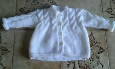 NEW HAND KNITTED ARAN JACKET 0-3 MONTHS