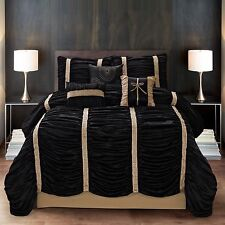 NEW Queen King Bed Black Gold Striped Ruched Pleats 7 pc Comforter Set Elegant