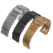 18/ 20/ 22/ 24 mm Mesh Wrist Watch Band Stainless Steel Buckle Strap Mens Unisex