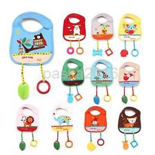 Cute Animal Cotton Toddler Infant Baby Bibs Saliva Pinafore with Teethers Toys