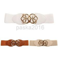 Ladies Women Fashion Heart Buckle Stretch Elastic Waist Belt