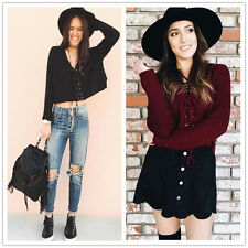 Womens Autumn Winter Sweater Lace Up Knitted Crop Top Jumper Long Sleeve Blouse