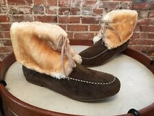 Lamo Dark Brown Suede Lace-up Moccasin Ankle Boots Booties 10 NEW