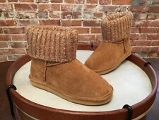 Lamo Chestnut Brown Suede Water Resistant Sweater Cuff Empire Boots NEW