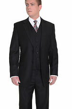 Classic Fit Solid Black Two Button Three Piece Super 150's Wool Suit